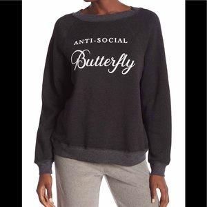 new Wildfox anti-social butterfly Sweatshirt Black